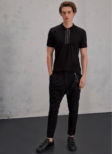 Pi π Zincir Detaylı Pantolon Siyah